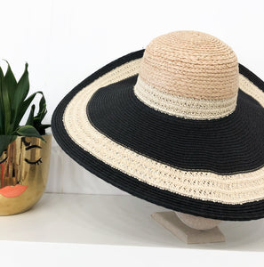 Darla Braided Floppy Straw Hat in Black and Tan