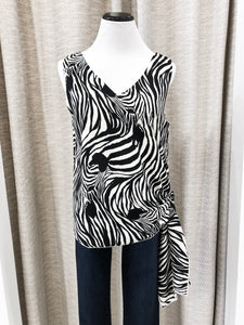 Zebra Tie-Side Tank Blouse