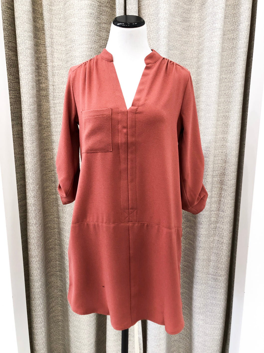 Textured Shift Dress in Marsala