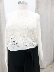 Jill Crochet Crop Sweater in Ivory