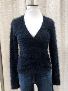 Trina Fuzzy Wrap Sweater in Navy