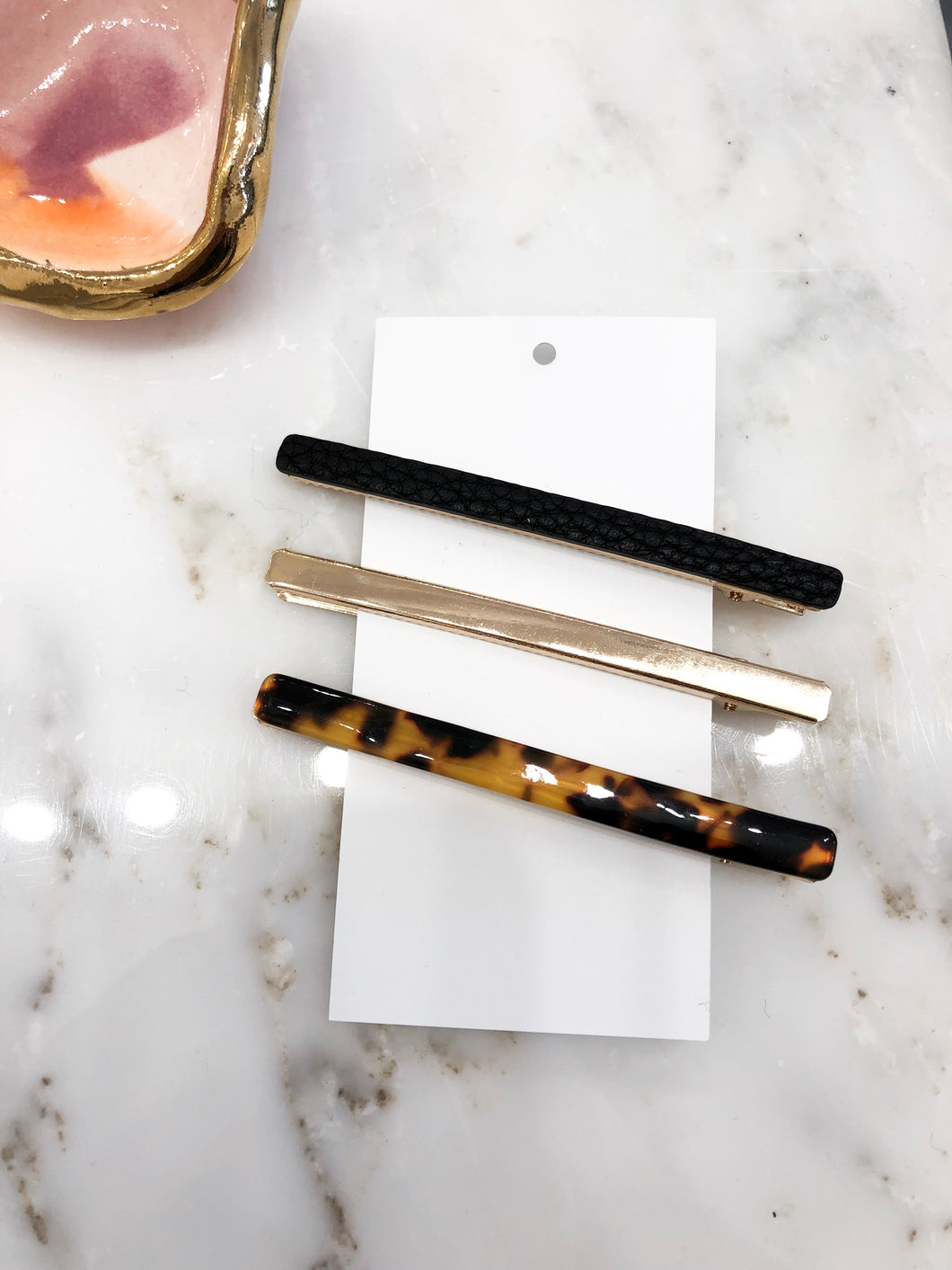 Manor Hair Clips in Black and Tortoise