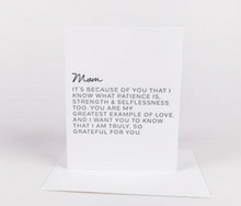 Dear Mom Greeting Card: Edition 1 'It's because of you...'