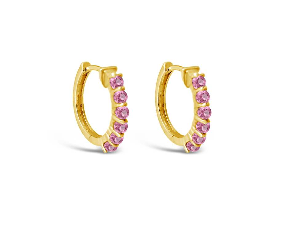 Karma Earrings in Pink Sapphire and Gold Vermeil by Sierra Winter Jewelry