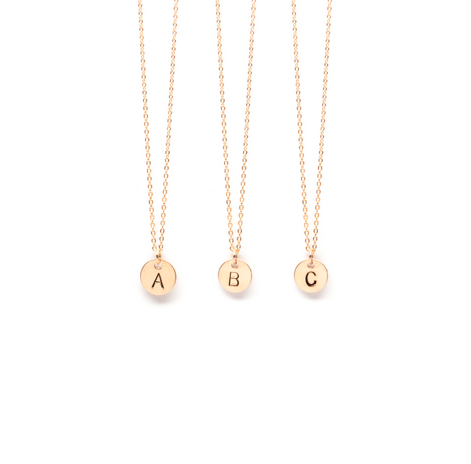 Petite Circle Initial Necklace - E