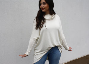 NOVAA Cowl Neck Modal Sweater in Natural - exclusive