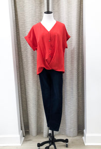 Washed V-Neck Blouse in Red - Final Sale