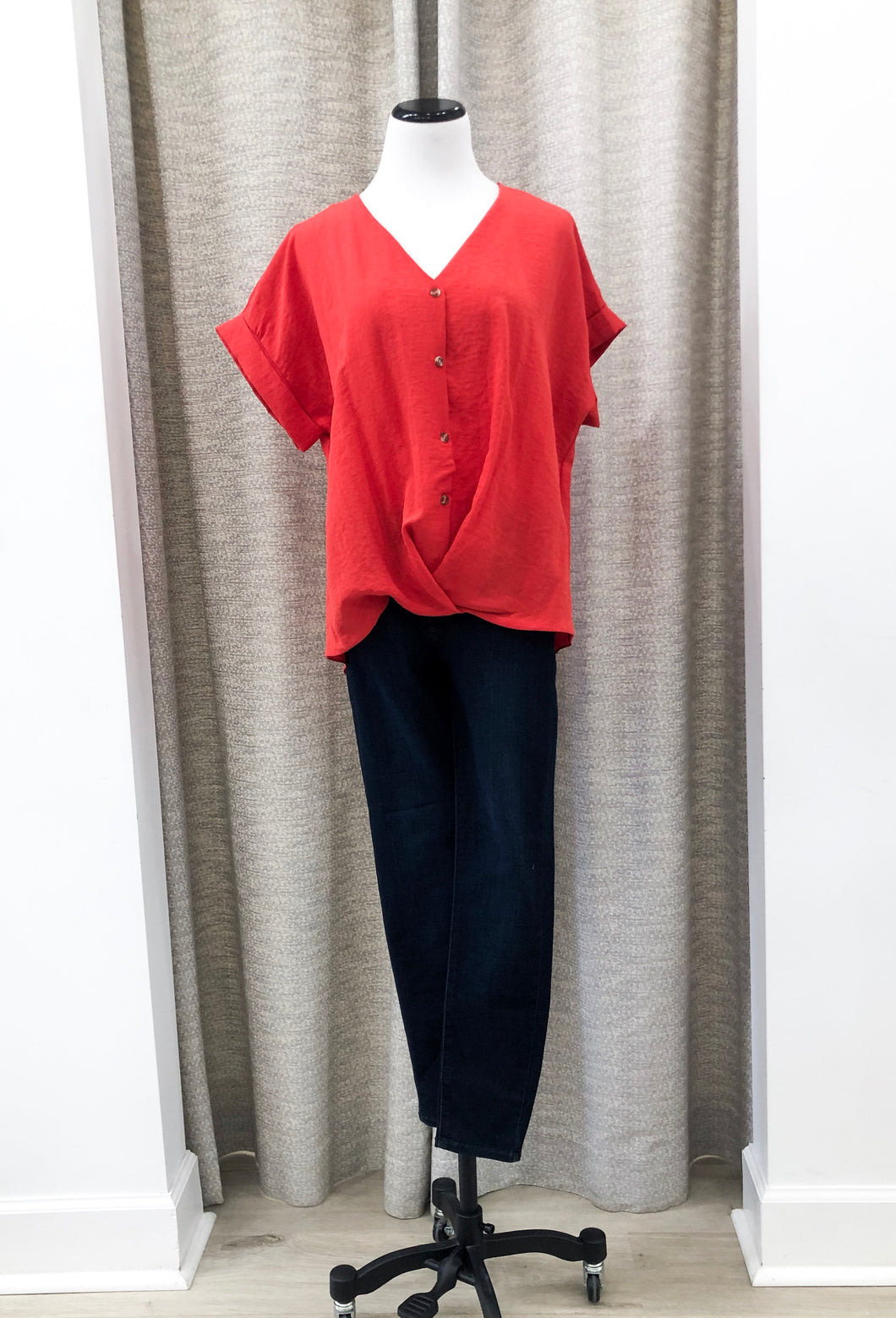 Washed V-Neck Blouse in Red