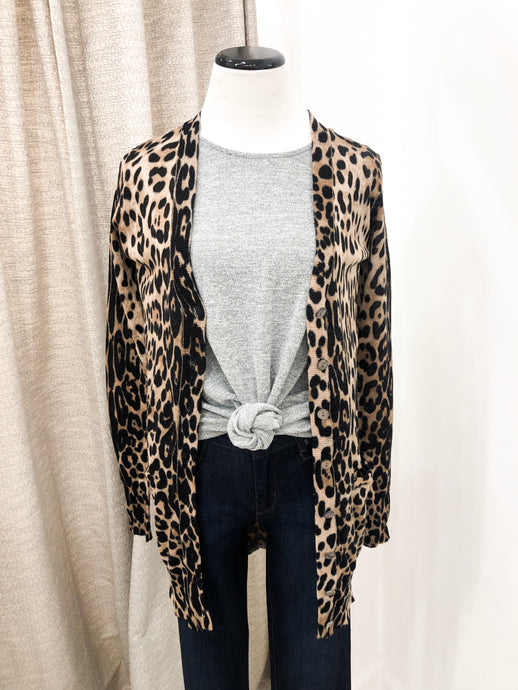 Cheetah Short Cardigan - Final Sale