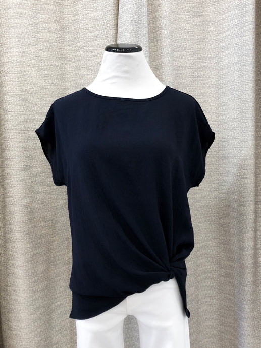 Brenna Short Sleeve Top with Twist in Navy