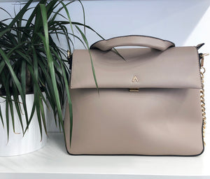 Carmen Flap Satchel in Taupe