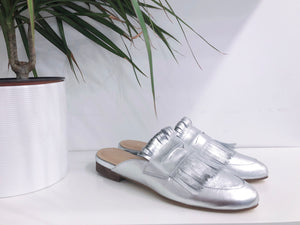 Lucca Fringe Mule in Silver