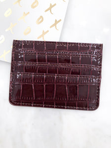 Croc Card Case in Wine