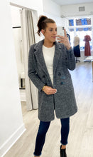 Tristan Double Breasted Coat in Dark Grey