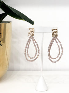 Double Teardrop Earrings in Mauve