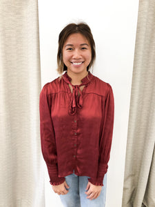 Ramona Tie-Neck Button Up Woven Top in Wine