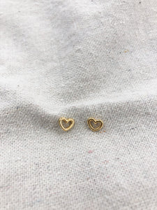 Heart Stud Earrings in Gold