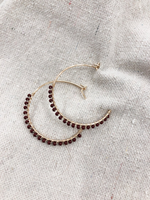 Genesis Seedbead Gold Hoops in Burgundy