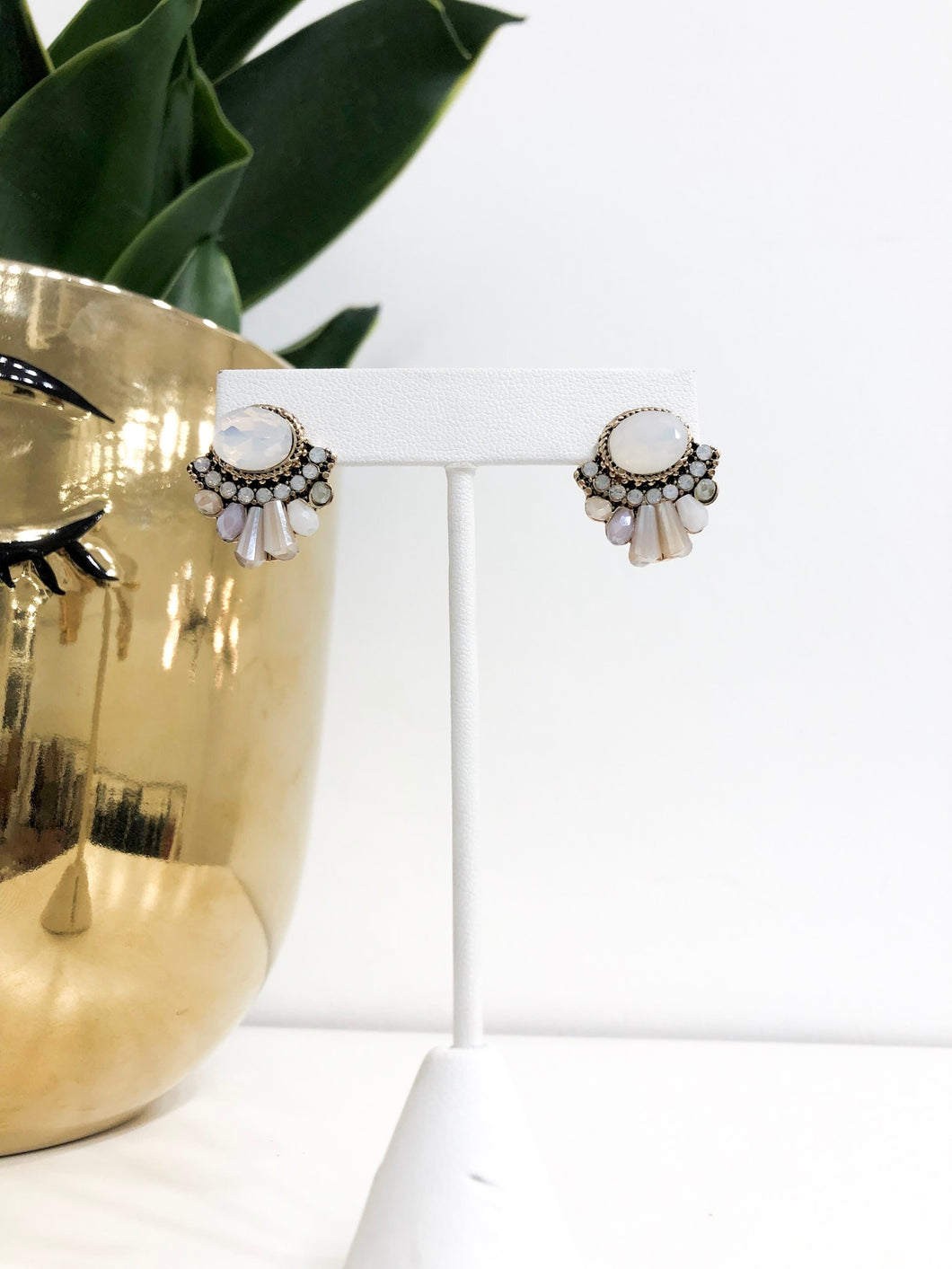 Sion Jeweled Studs in Greys