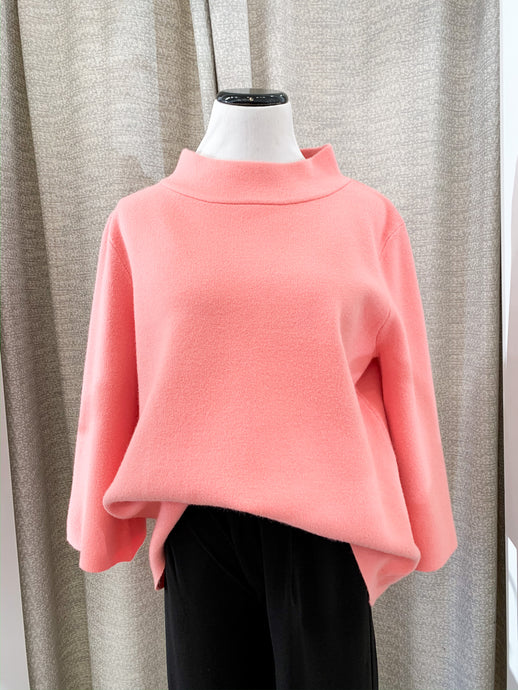 Mock Neck Sweater in Coral