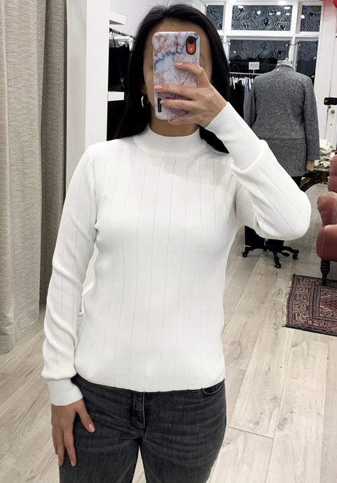 Raven Wide Ribbed Long Sleeve Top in White