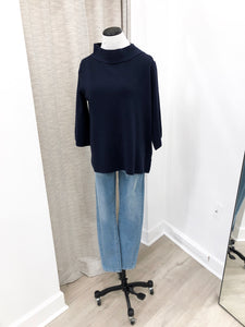 Mock Neck Sweater in Navy