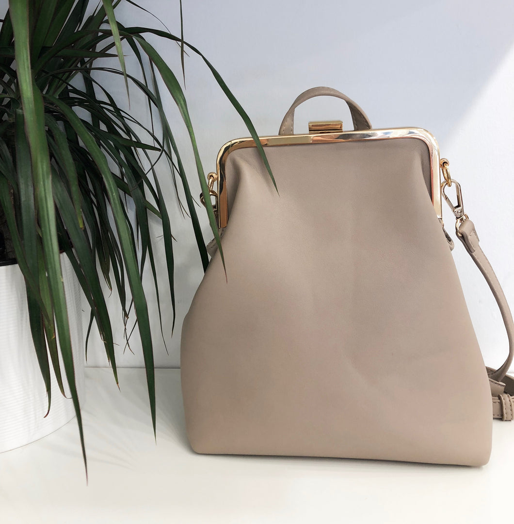 Patty Snap Top Convertible Backpack in Beige