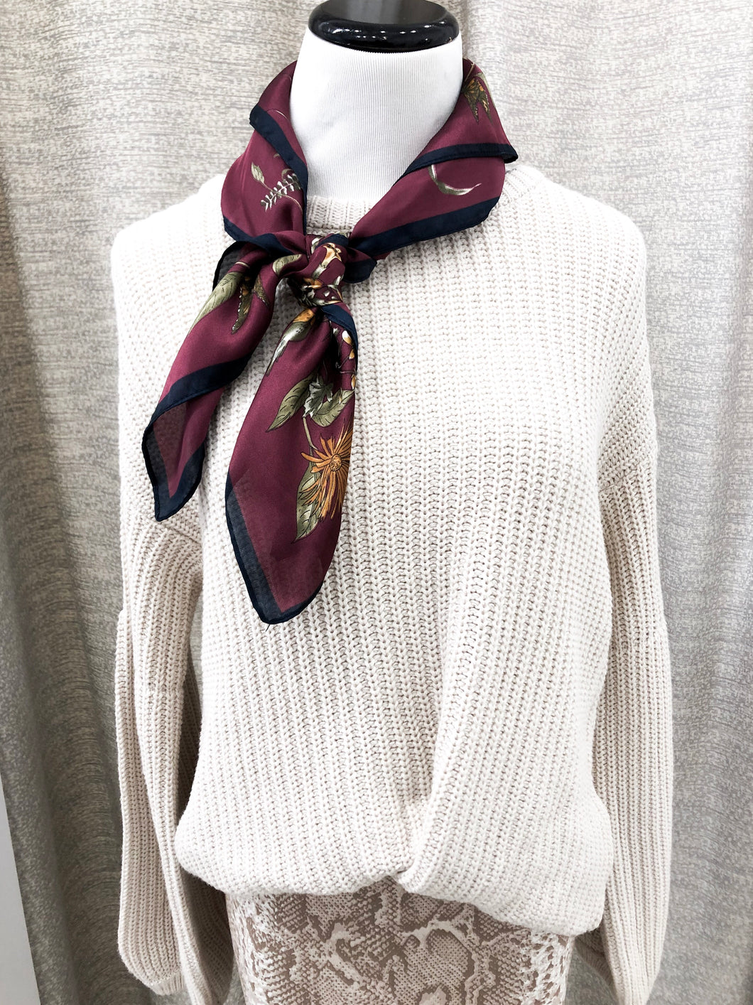 Floral Garden Scarf in Wine