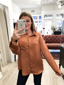 Paige Button-Down Satin Blouse in Maple