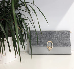 Tweed Clutch in Grey