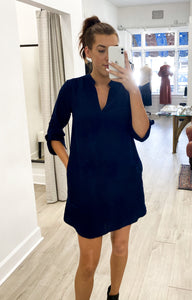 Textured Shift Dress in Navy Blue