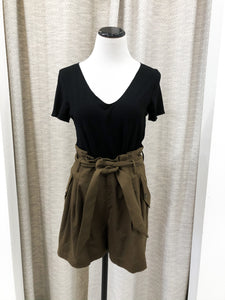 Billie High Waisted Paper Bag Shorts in Walnut