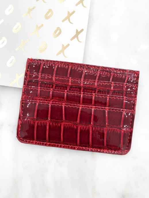 Croc Card Case in Red