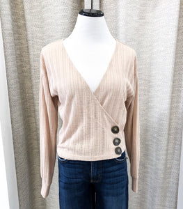 Emily Wrap Blouse in Taupe - Final Sale
