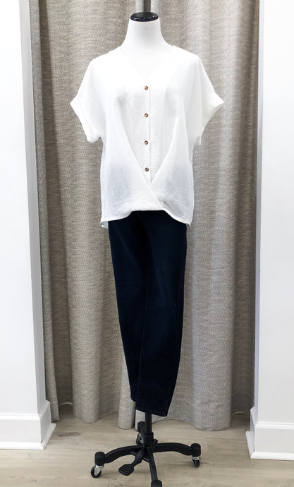 Washed V-Neck Blouse in Ivory - Final Sale