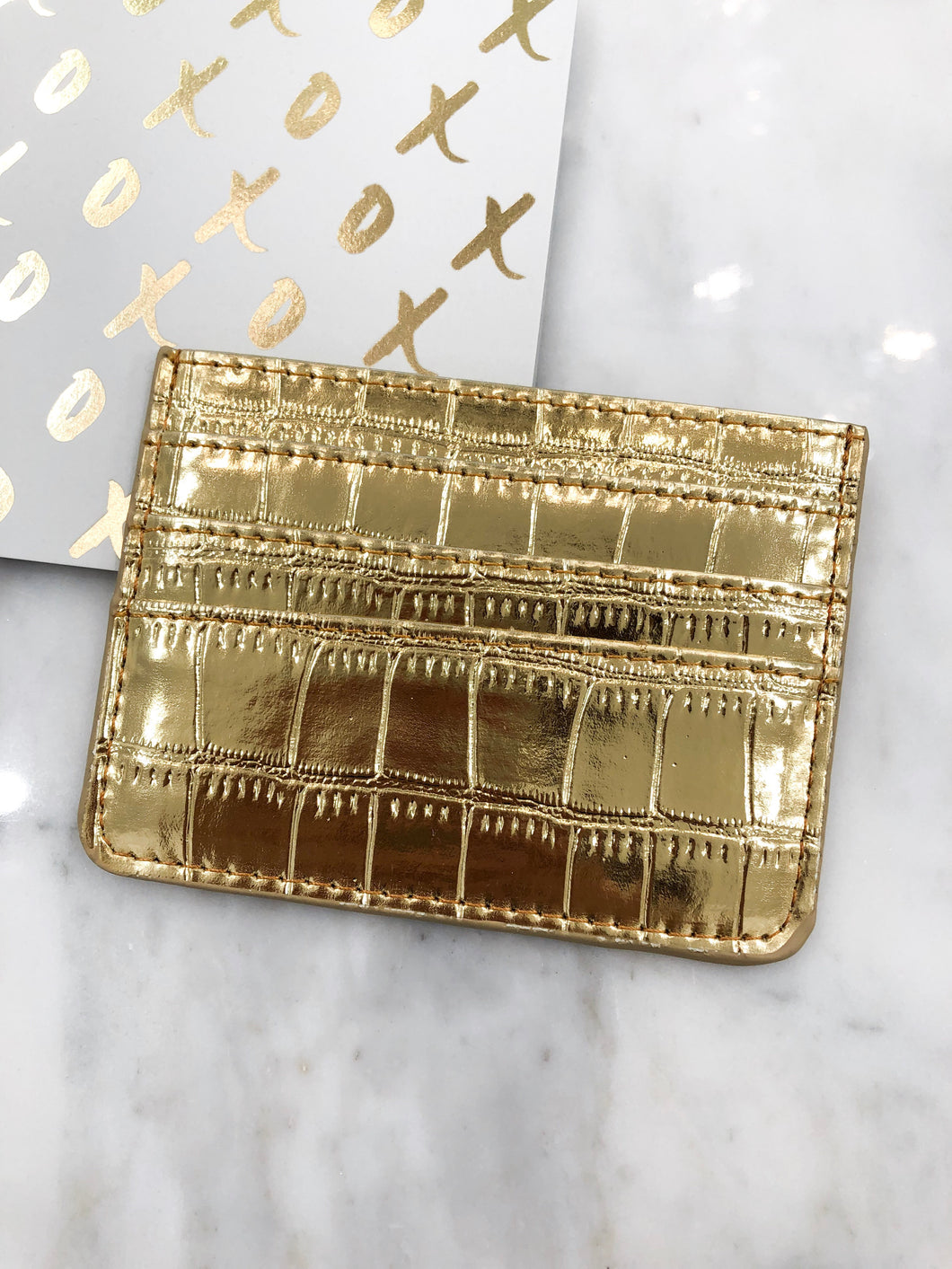 Croc Card Case in Gold