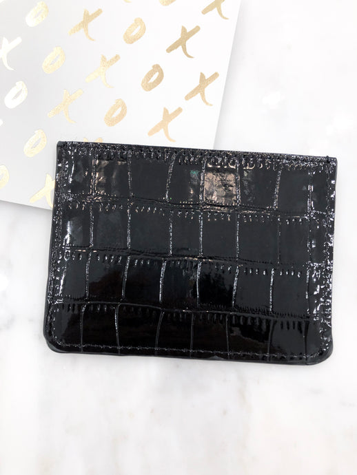Croc Card Case in Black