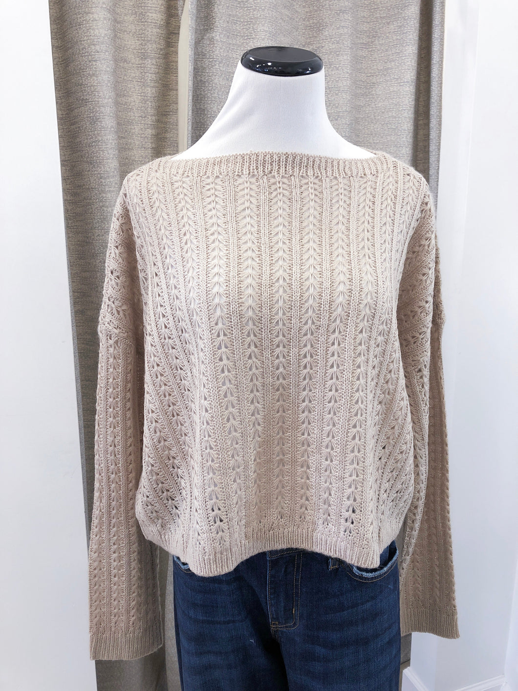 River Crop Sweater in Sand