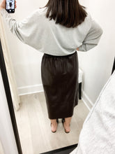 Lacy Faux Leather Midi Skirt in Brownie