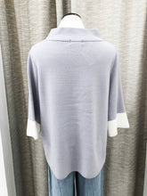 Mock Neck Sweater in Lilac Contrast
