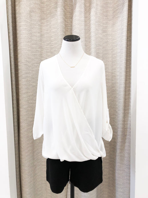 Cathy 3/4 Sleeve Blouse in White
