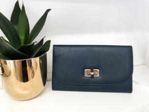 Hamsa Clutch in Navy