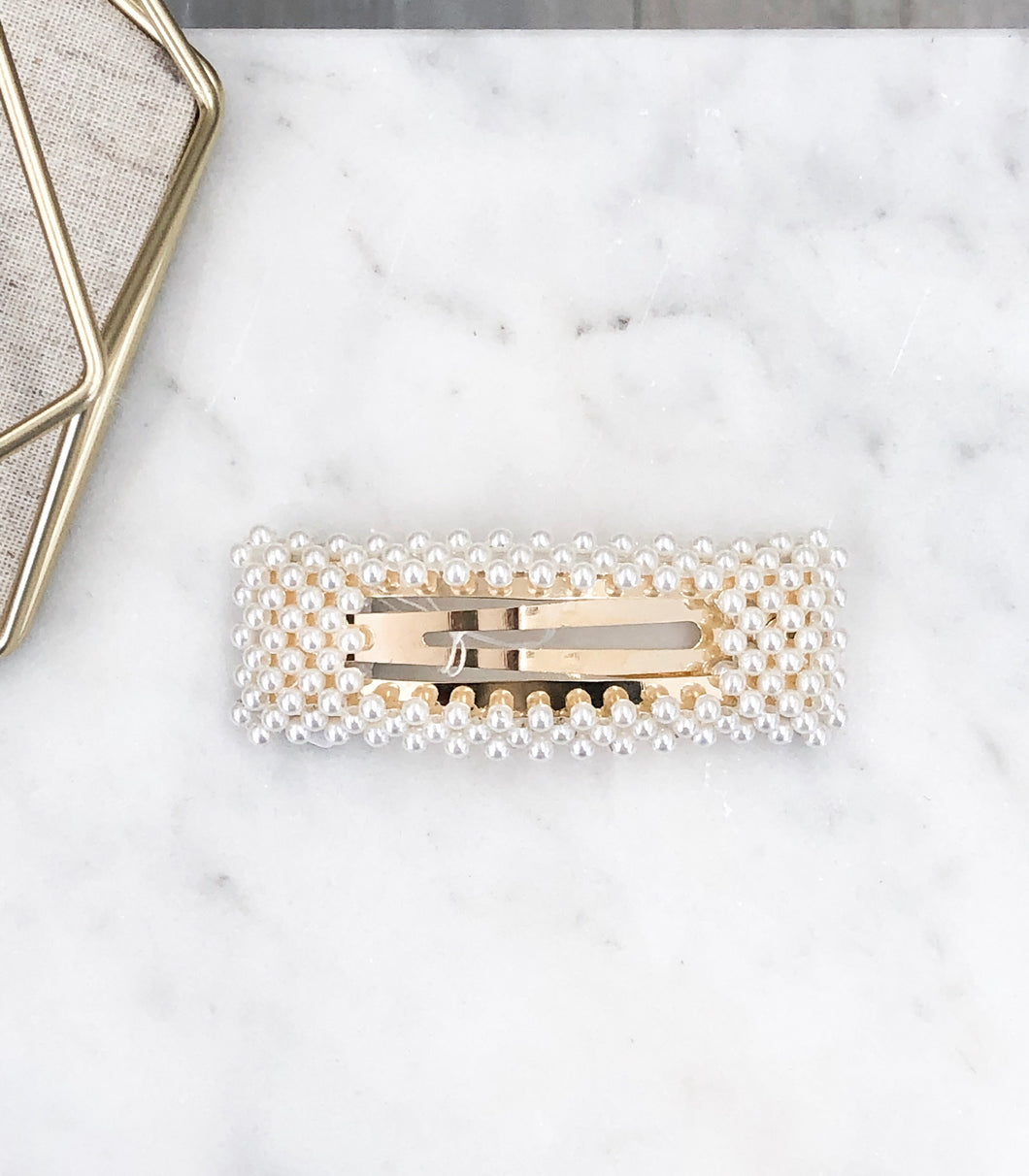 Rectangle Hair Clip in Pearls