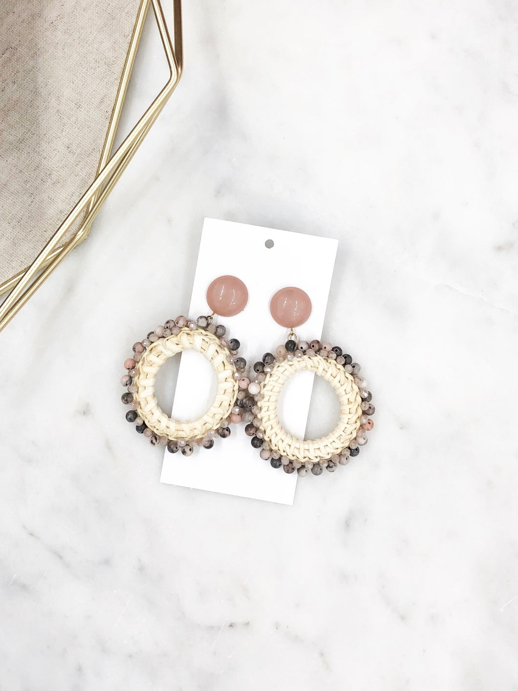Rattan Circle Earrings in Mauve