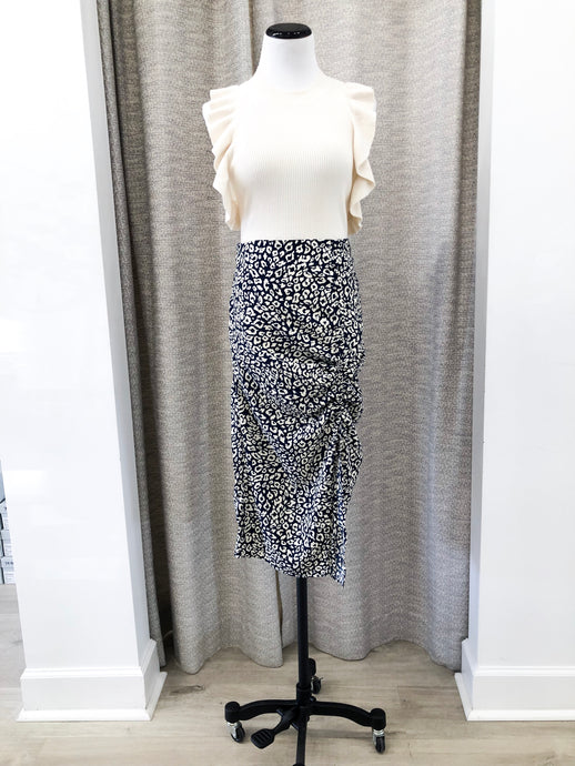Shirley Skirt in Navy Animal Print