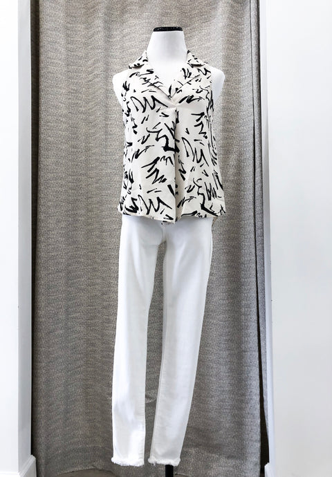 Arquette Blouse in Ivory Print