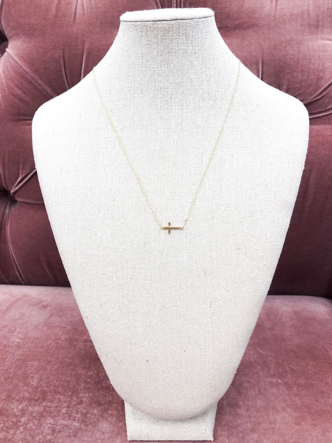 Tiny Sideways Cross Necklace in Gold