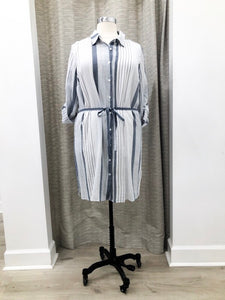 Shirting Dress in Navy Stripe
