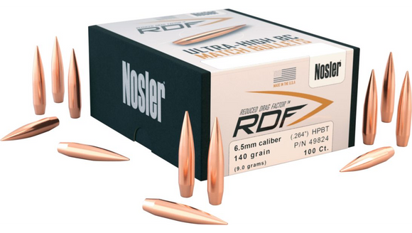 Nosler RDF 6.5mm (264 Diameter) 130 Grain Bullets