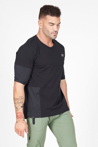 TLF Apparel - Air-Flex 3/4 Sleeve Training T-Shirt - MEN SHORT SLEEVES - Black / SBlack / MBlack / LBlack / XLBlack / 2XL